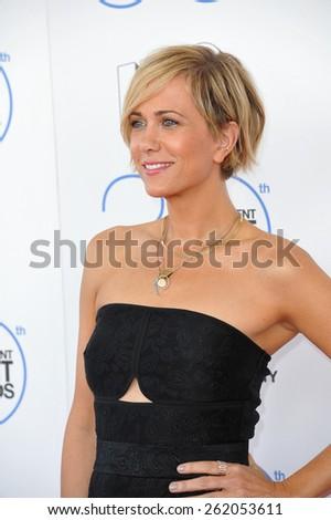 SANTA MONICA, CA - FEBRUARY 21, 2015: Kristen Wiig at the 30th Annual Film Independent Spirit Awards on the beach in Santa Monica.  - stock photo