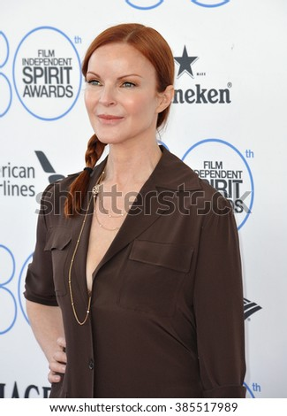 SANTA MONICA, CA - FEBRUARY 21, 2015: Marcia Cross at the 30th Annual Film Independent Spirit Awards on the beach in Santa Monica.