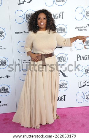 SANTA MONICA, CA - FEBRUARY 21, 2015: Oprah Winfrey at the 30th Annual Film Independent Spirit Awards on the beach in Santa Monica.  - stock photo