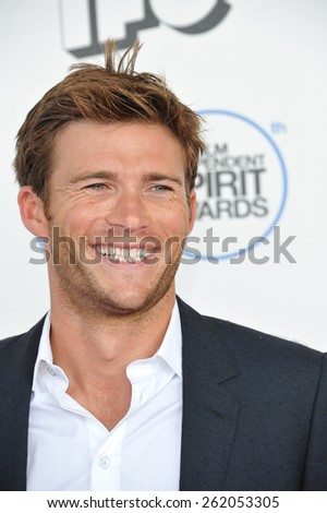 SANTA MONICA, CA - FEBRUARY 21, 2015: Scott Eastwood at the 30th Annual Film Independent Spirit Awards on the beach in Santa Monica.  - stock photo