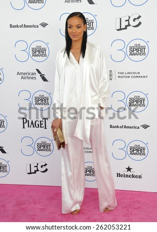 SANTA MONICA, CA - FEBRUARY 21, 2015: Selita Ebanks at the 30th Annual Film Independent Spirit Awards on the beach in Santa Monica.