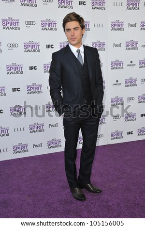 SANTA MONICA, CA - FEBRUARY 25, 2012: Zac Efron at the 2012 Film Independent Spirit Awards on the beach in Santa Monica, CA. February 25, 2012  Santa Monica, CA - stock photo