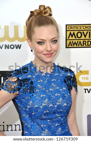SANTA MONICA, CA - JANUARY 10, 2013: Amanda Seyfried at the 18th Annual Critics' Choice Movie Awards at Barker Hanger, Santa Monica Airport. - stock photo