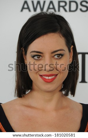 SANTA MONICA, CA - MARCH 1, 2014: Aubrey Plaza at the 2014 Film Independent Spirit Awards on the beach in Santa Monica, CA.
