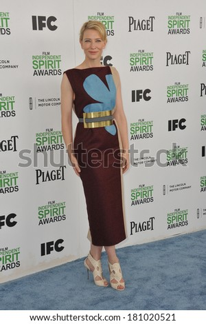 SANTA MONICA, CA - MARCH 1, 2014: Cate Blanchett at the 2014 Film Independent Spirit Awards on the beach in Santa Monica, CA.