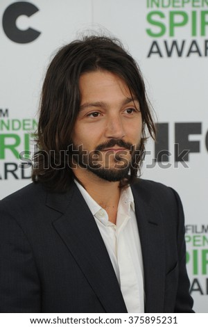 SANTA MONICA, CA - MARCH 1, 2014: Diego Luna at the 2014 Film Independent Spirit Awards on the beach in Santa Monica, CA.