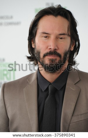 SANTA MONICA, CA - MARCH 1, 2014: Keanu Reeves at the 2014 Film Independent Spirit Awards on the beach in Santa Monica, CA.