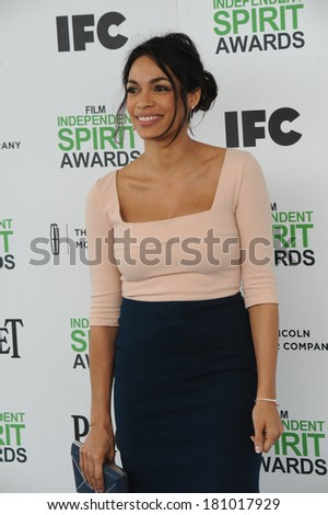 SANTA MONICA, CA - MARCH 1, 2014: Rosario Dawson at the 2014 Film Independent Spirit Awards on the beach in Santa Monica, CA.