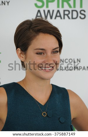 SANTA MONICA, CA - MARCH 1, 2014: Shailene Woodley at the 2014 Film Independent Spirit Awards on the beach in Santa Monica, CA.