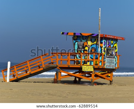 SANTA MONICA, CA - OCT 11: The Portraits of Hope project transforms lifeguard towers along the LA Coastline by painting them with colorful artwork Oct 11, 2010 in Santa Monica, CA. - stock photo