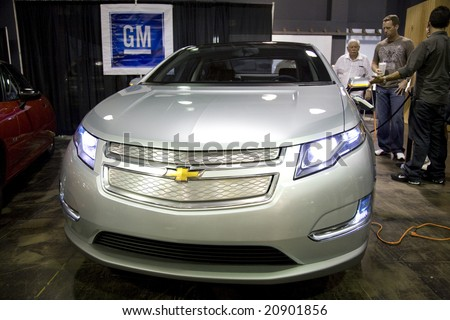 SANTA MONICA, CA - SEPT 26: The Chevrolet Volt at the The Alt Car Expo, an outlet for alternative vehicles.  The Volt is slated to be GM's second production electric vehicle. - stock photo