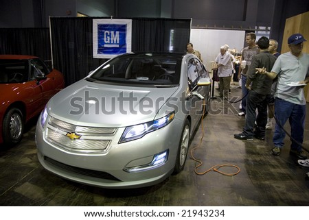 SANTA MONICA, CA - SEPTEMBER 26: The Chevrolet Volt at the 2008 Alt Car Expo, an outlet for alternative vehicles.  The Volt is slated to be GM's second production electric vehicle. Alt Car Expo September 26th 2008. - stock photo
