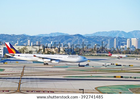 SANTA MONICA/CALIFORNIA - FEB. 7, 2016: Philippine Airlines Airbus A340-313 taxiing on runway at Los Angeles International Airport in Los Angeles, California USA - stock photo