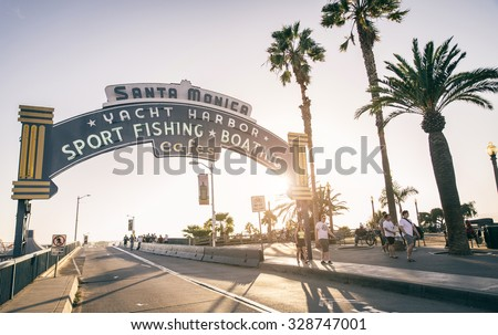 SANTA MONICA, CALIFORNIA - OCTOBER 12, 2015 : welcoming arch in Santa Monica, California. The city has 3.5 miles of beach locations and 340 days of sunshine a year. - stock photo