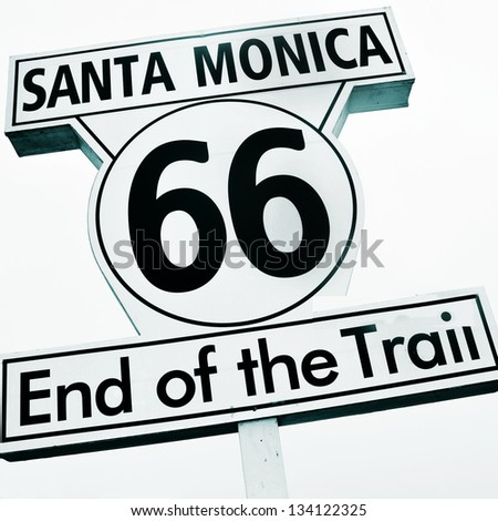 Santa Monica, 66, End of the Trail sign, in Santa Monica Pier, United States - stock photo