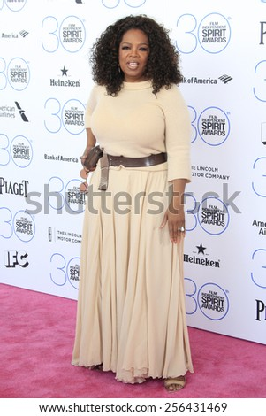 SANTA MONICA - FEB 21: Oprah Winfrey at the 2015 Film Independent Spirit Awards on February 21, 2015 in Santa Monica, California - stock photo