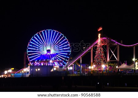 Santa Monica Ferris Wheel night view - stock photo