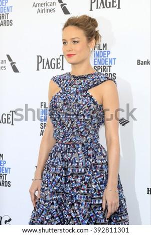 SANTA  MONICA - MAR 1: Brie Larson at the 2016 Film Independent Spirit Awards at Santa Monica Beach on February 27, 2016 in Santa Monica, California - stock photo