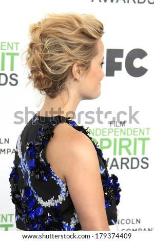 SANTA  MONICA - MAR 1: Reese Witherspoon at the 2014 Film Independent Spirit Awards at Santa Monica Beach on March 1, 2014 in Santa Monica, California - stock photo