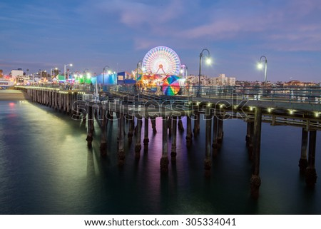 Santa Monica pier at night. - stock photo