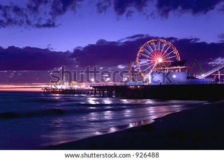 Santa Monica Pier at sunset - stock photo