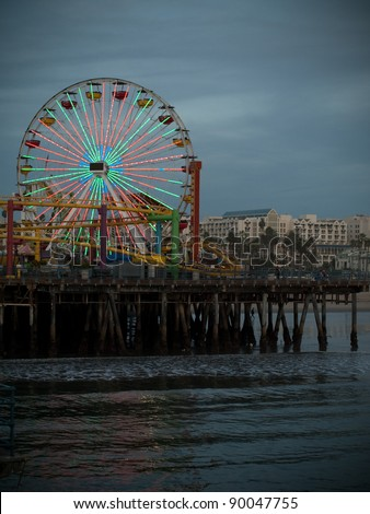 Santa Monica pier in California, USA - stock photo
