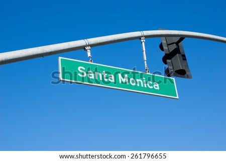 Santa Monica street sign in Los Angeles - stock photo