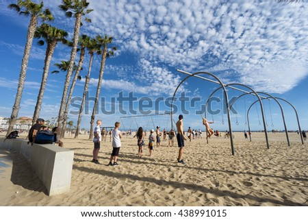 SANTA MONICA, USA - JUNE 18, 2016: Muscle beach is the birth place of the physical fitness boom in the US during the 20th century  on June 18, 2016 in Santa Monica, Los Angeles, California. - stock photo