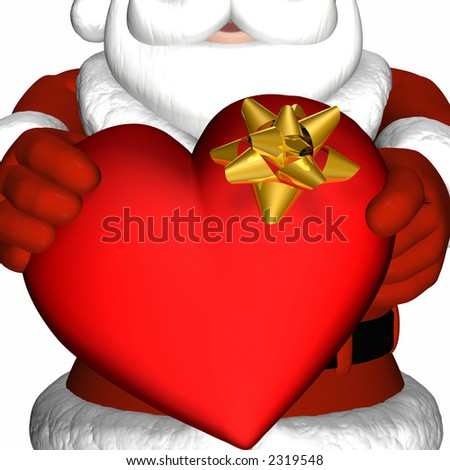 Santa offering a valentine heart as a gift. Isolated on a white background. - stock photo