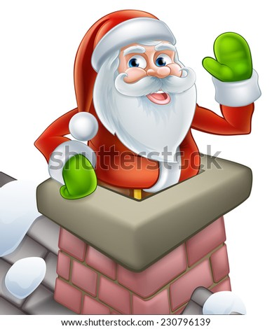 Santa on a snowy rooftop coming out of a chimney stack and waving at Christmas. - stock photo