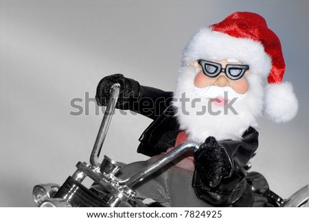 santa on chopper - stock photo