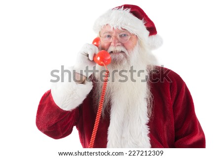 Santa on his red phone on white background