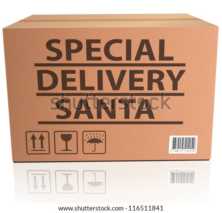 santa package special delivery for christmas present of gift surprise santa claus merry christmas shipment order santa present - stock photo