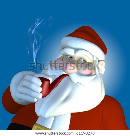 Santa 2010 - Pipe.  Santa relaxing as he smokes his pipe.  Textured clothing, beard, and glasses.