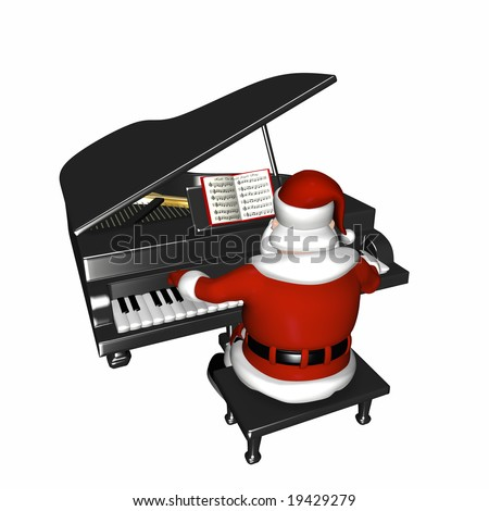 Santa playing a piano.  Isolated on a white background. - stock photo