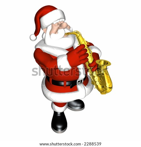 Santa playing the saxophone.  Isolated on a white background.