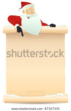 Santa Pointing Parchment Sign/ Illustration of Santa claus pointing parchment sign for children gift list - stock photo