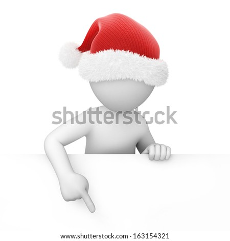 Santa points a finger down, image with a work path - stock photo