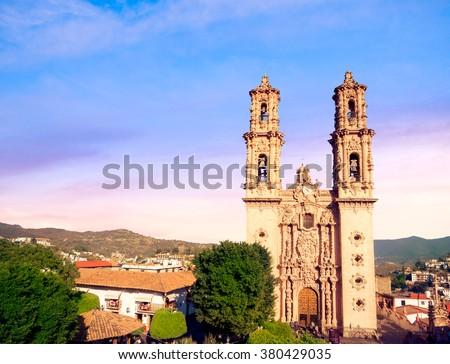 Santa Prisca de Taxco, main representation of the New Spanish baroque in Taxco. - stock photo