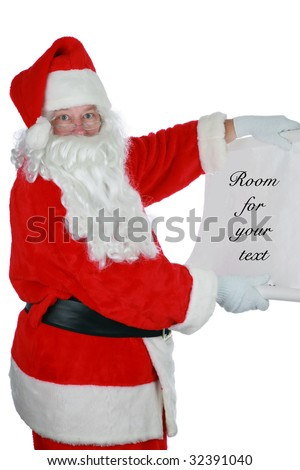 santa reads from his list  with room for your text isolated on white