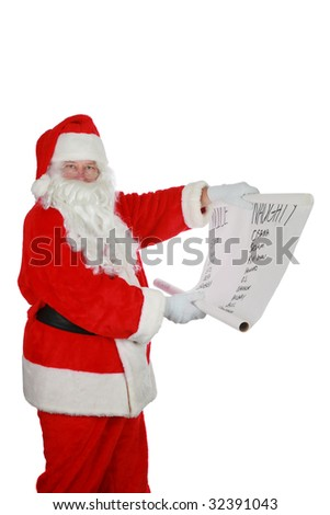santa reads from his list  with room for your text isolated on white - stock photo