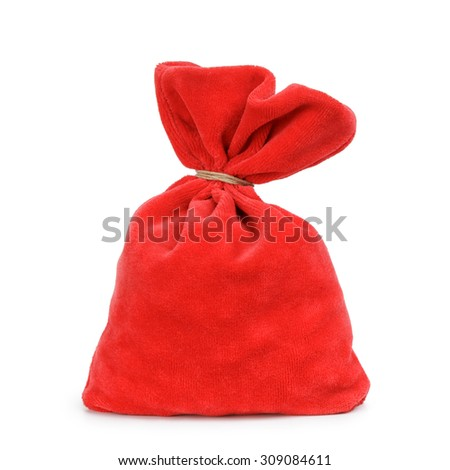 Santa red bag, isolated on white background - stock photo
