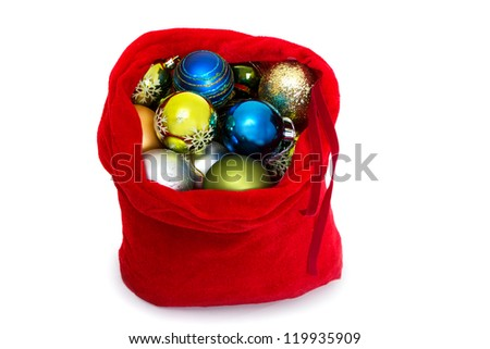 Santa red bag with Christmas toys on white background. - stock photo