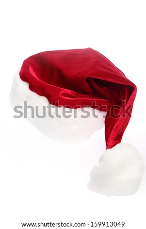 Santa red hat isolated in white background - stock photo