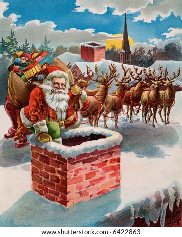 Santa, reindeer and sleigh on the roof top - circa 1899 illustration - stock photo