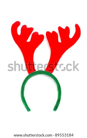 santa reindeer horns on a white background - stock photo