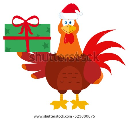 Santa Rooster Bird Cartoon Mascot Character Holding Gifts. Raster Illustration Flat Design Isolated On White Background