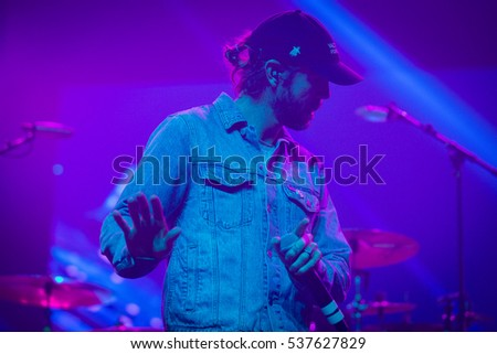 Santa Rosa, CA/USA - 12/11/2015: Jared Watson performs with Dirty Heads at the Emerald Cup in Santa Rosa, CA. Their fifth studio album released in 2016 features their reggae/rock/rap style.