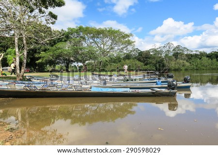 Santa Rosa - MAY 5: Boats in Madidi River on May 5, 2015 in Beni Region, Bolivia. The rivers are the main roads in the Amazon jungle.