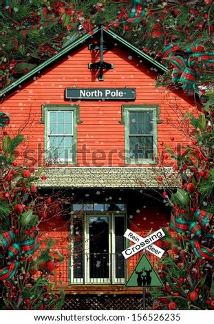 Santa's Christmas Workshop at the North Pole - stock photo